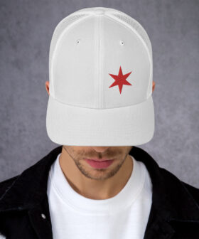 Chicago Flag Trucker Hat - One Star | White