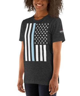 Thin Blue Chicago Line Police Flag T Shirt